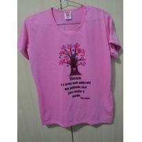 Camisa baby look rosa G - 14 anos - Não informada