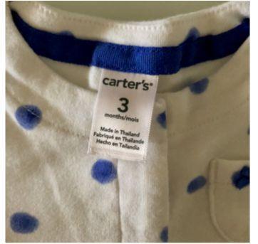 Batinha poá azul - 3 meses - 3 meses - Carter`s