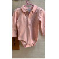 body de bebê básico rosa manga longa - 9 meses - Ralph Lauren