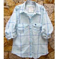 1307 - Camisa xadrez branco/azul e rosa - M (10) - 10 anos - Abercrombie