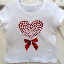 1637 - Top branco - 4 anos - Coração vermelho - 4 anos - Place