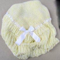 1765 - Xale amarelo em tricô - feito a mão - - Sem faixa etaria - Atelier do bebê