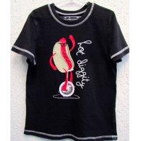 2526 - Camiseta preta - h/6 anos - Hot Dog Equilibrista - 6 anos - Okie Dokie