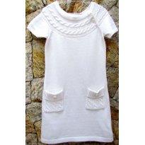 2651 - Vestido em tricô na cor crú - m/5 anos - 5 anos - Baby Gap