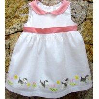 2875 - Vestido Gymboree branco e rosa - 3/6 meses - Quantas gatinhas! - 3 a 6 meses - Gymboree