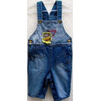 3181 - Jardineira jeans chicote H/6 meses - Cowboy - 6 meses - chicote baby