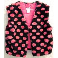 3370 - Colete preto com bolotas pink Charming Charlie - M7/8  anos - 7 anos - Charming Charlie USA