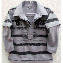 3440 - Blusão gola polo cinza - Confetti - H/2 anos - 2 anos - Confetti-Absorba - France