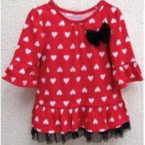 3465 - Batinha vermelho com corações brancos kidgets - M/3 anos - 3 anos - Kidgets - USA