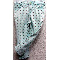 D3496 - Calça Skinning verde água com bolinhas pink - Gap - M/5 anos - 5 anos - Baby Gap