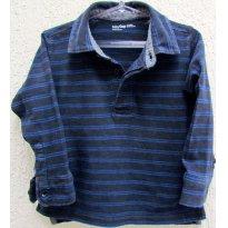 3547 - Camisa gola polo listrada preto e azulão GAP - H/18-24 meses - 18 meses - Baby Gap
