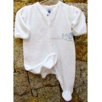 3570 - Macacão unissex branco Petit Bateau - RN - Passarinhos - Recém Nascido - Petit Bateau