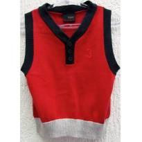 TH - 3598 - Colete em tricô vermelho, marinho e bege Next - H/3-6 meses - 3 a 6 meses - Next