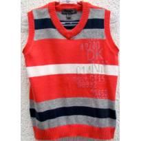 TH - 3602 - Colete em tricô laranja, marinho, cinza e branco DKNY - H/12 meses - 1 ano - DKNY