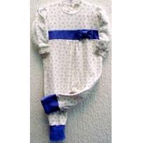3611 - Macacão branco e violeta Silmara P - M/3 meses - 3 meses - Silmara