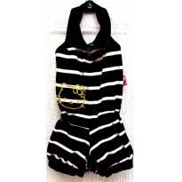 D3759 - Macaquinho listrado preto e branco Hello Kitty- M/2 anos - 2 anos - Hello  Kitty