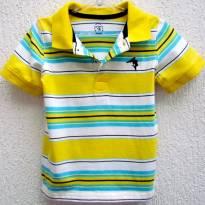 3815 -TH-Camisa gola polo listrada amarelo, branco e azul Carter