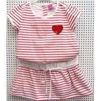 3865 - Vestido listrado branco e vermelho Pool Kids - M/4 anos - 4 anos - Pool Kids