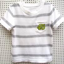 TH - 3999 - Camiseta listrada branca e cinza Carter