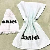 4240 - Jogo  de toalhinhas bordadas personalizadas DANIEL -  Verde água -  - Toalhas São Carlos
