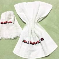 4237 - Jogo de toalhinhas brancas bordadas personalizadas - DANIEL - trenzinho -  - Toalhas São Carlos