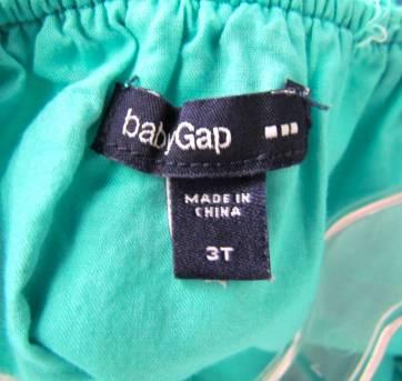 4466-D-Vestido verde e marinho estampado Gap 3 anos - 3 anos - Baby Gap