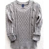 4543-D-Suéter em tricô cinza Gap - Menina 5 anos - 5 anos - Baby Gap