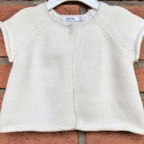 4658 - Casaquinho branco  em tricô bout`chou – menina 6 meses - 6 meses - Bout`Chou