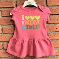4672 - Vestido Pink Carter`s - Menina 6 meses - I Love my Mom & Dad - 6 meses - Carter`s