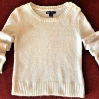 4708 - Suéter branco em tricô Gap Kids – Menina 6-7 anos - 6 anos - GAP
