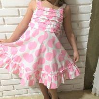 4718 - Vestido Importado com estampa de bolas rosa – Menina 6 anos - 6 anos - Importado