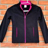 4706 - Casaquinho preto e pink em fleece – Faded Glory – Menina 6/6X - 6 anos - Faded Glory (EUA)