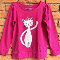 4701 - Blusão pink Gymboree  - Menina 7 anos - Gatinha de coroa - 7 anos - Gymboree