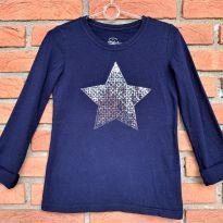 4696 - Blusa marinho Faded Glory -  estrela prateada – Menina 6/6X - 6 anos - Faded Glory (EUA)