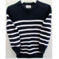 4786-Suéter em tricô listrado marinho e branco -  Place H/4 anos - 4 anos - Place
