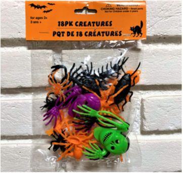 """4915 - Halloween Importado – Pacote de """"Criaturas"""" – 18 peças - Sem faixa etaria - Importado"""