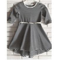 5127 - Vestido listrado preto & branco –Cherokee – Menina 7/8 anos - 7 anos - Cherokee