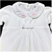 MT - 5237 - Macacão branco Paola Bimbi – Menina/3 meses - Lacinhos rosa - 3 meses - Paola BimBi
