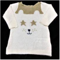 MT - 5338 - Suéter creme em tricô Carters – Menina/6 meses – Gatinha - 6 meses - Carter`s