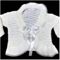 5331 - Casaquinho branco artesanal  – Menina/6 meses - 6 meses - Artesanal