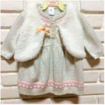 MT - 5357 - Vestido cinza Carter's com colete  – Menina/6  meses - 6 meses - Carter`s