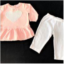 MT - 5345 - Conjuntinho Carter's – Menina/6 meses – Coração prateado - 6 meses - Carter`s