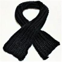 5988 - Cachecol preto em tricô para menina. - Único - Artesanal