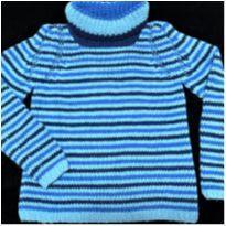 6836 – Suéter em tricô - Azul– Unissex –14 anos - 14 anos - Artesanal