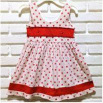 7215 - L21 - Vestido de poá vermelho  – Menina 5 anos - 5 anos - Artesanal