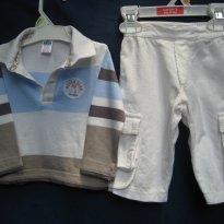 377 - Conjuntinho - Calça de veludo Va...Lutin & Camisa Zara - Menino 3/6 meses
