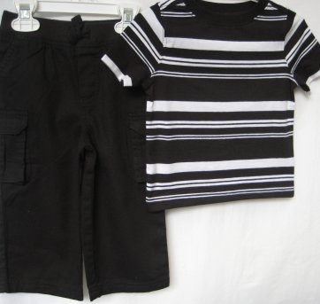 429 - Combinado: Calça Garanimals-Camiseta Old Navy P&B -12/18M - 12 a 18 meses - Old Navy (USA) e Garanimals
