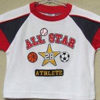696 - Camiseta branco,  vermelho e azul Tuff Guys - 6/9 meses - 6 a 9 meses - Tuff Guys - USA