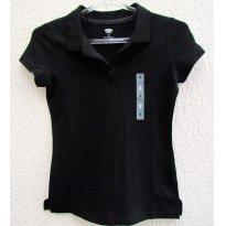 1102 - Camisa gola polo - preta -  8 anos - 8 anos - Old Navy