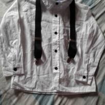 Camisa branca manga longa c/ suspensório preto - Tam 3 - 3 anos - Outras